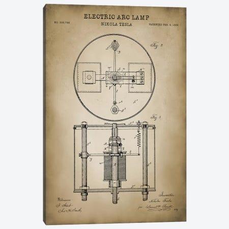 Tesla Electric Arc Lamp Canvas Print #PAT127} by PatentPrintStore Canvas Wall Art
