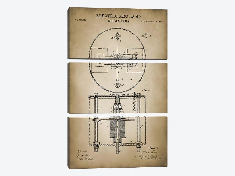 Tesla Electric Arc Lamp by PatentPrintStore 3-piece Canvas Artwork