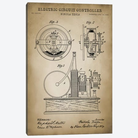 Tesla Electric Circuit Controller, Beige Canvas Print #PAT128} by PatentPrintStore Canvas Print