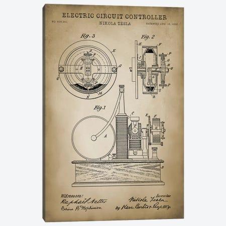 Tesla Electric Circuit Controller, Beige 3-Piece Canvas #PAT128} by PatentPrintStore Canvas Print