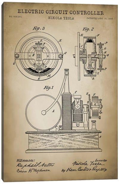 Tesla Electric Circuit Controller, Beige Canvas Art Print
