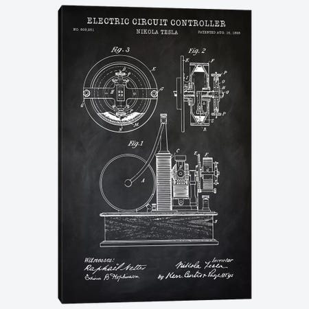 Tesla Electric Circuit Controller, Black Canvas Print #PAT129} by PatentPrintStore Canvas Art Print