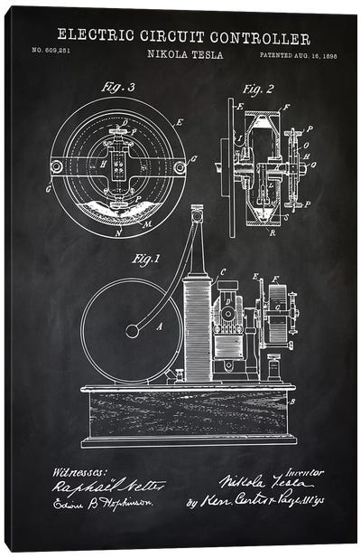 Tesla Electric Circuit Controller, Black Canvas Art Print