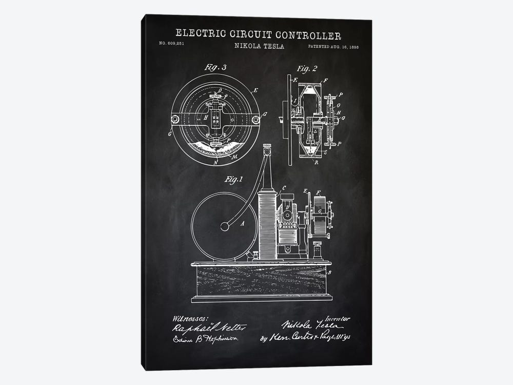 Tesla Electric Circuit Controller, Black by PatentPrintStore 1-piece Canvas Wall Art