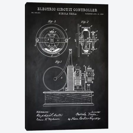Tesla Electric Circuit Controller, Black 3-Piece Canvas #PAT129} by PatentPrintStore Canvas Art Print