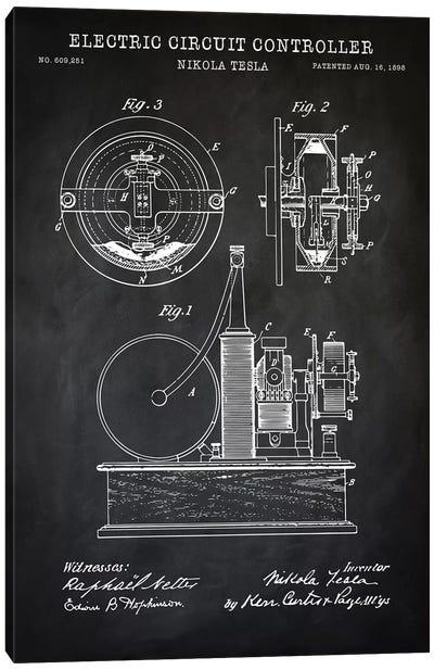 Tesla Electric Circuit Controller, Black Canvas Art Print