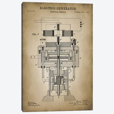 Tesla Electric Generator, Beige Canvas Print #PAT130} by PatentPrintStore Canvas Wall Art
