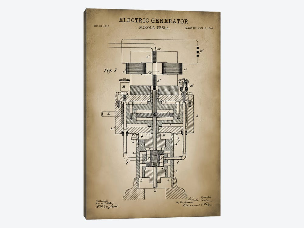 Tesla Electric Generator, Beige by PatentPrintStore 1-piece Canvas Art