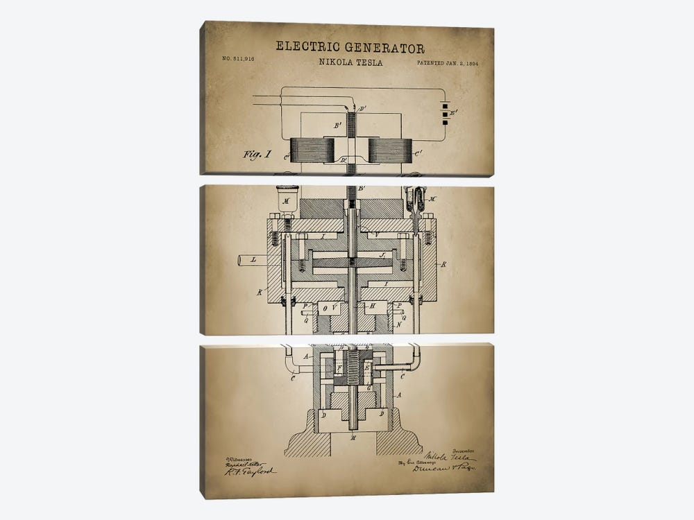 Tesla Electric Generator, Beige by PatentPrintStore 3-piece Canvas Wall Art