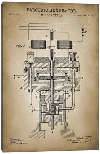 Tesla Electric Generator, Beige Canvas Art Print