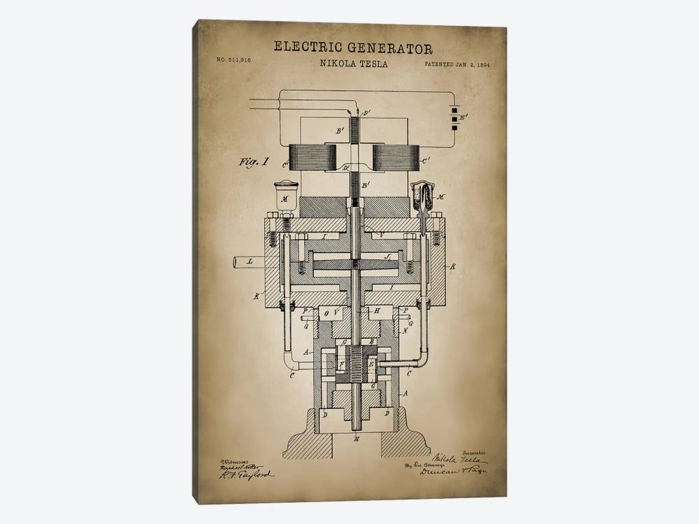 Tesla Electric Generator, Beige by PatentPrintStore 1-piece Canvas Art