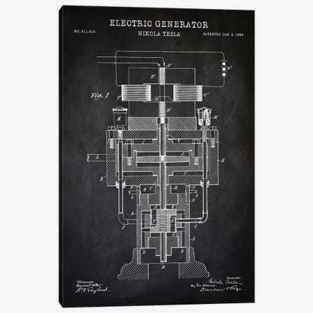 Tesla Electric Generator, Black Canvas Print #PAT131} by PatentPrintStore Canvas Wall Art
