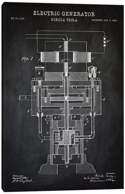 Tesla Electric Generator, Black Canvas Art Print