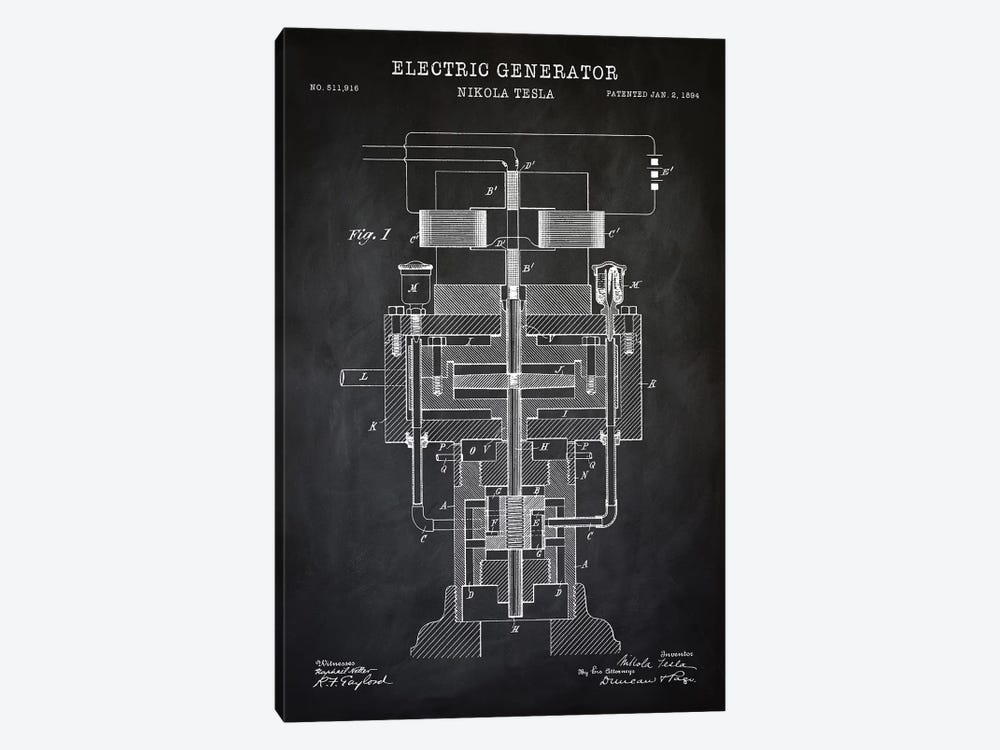Tesla Electric Generator, Black by PatentPrintStore 1-piece Canvas Print