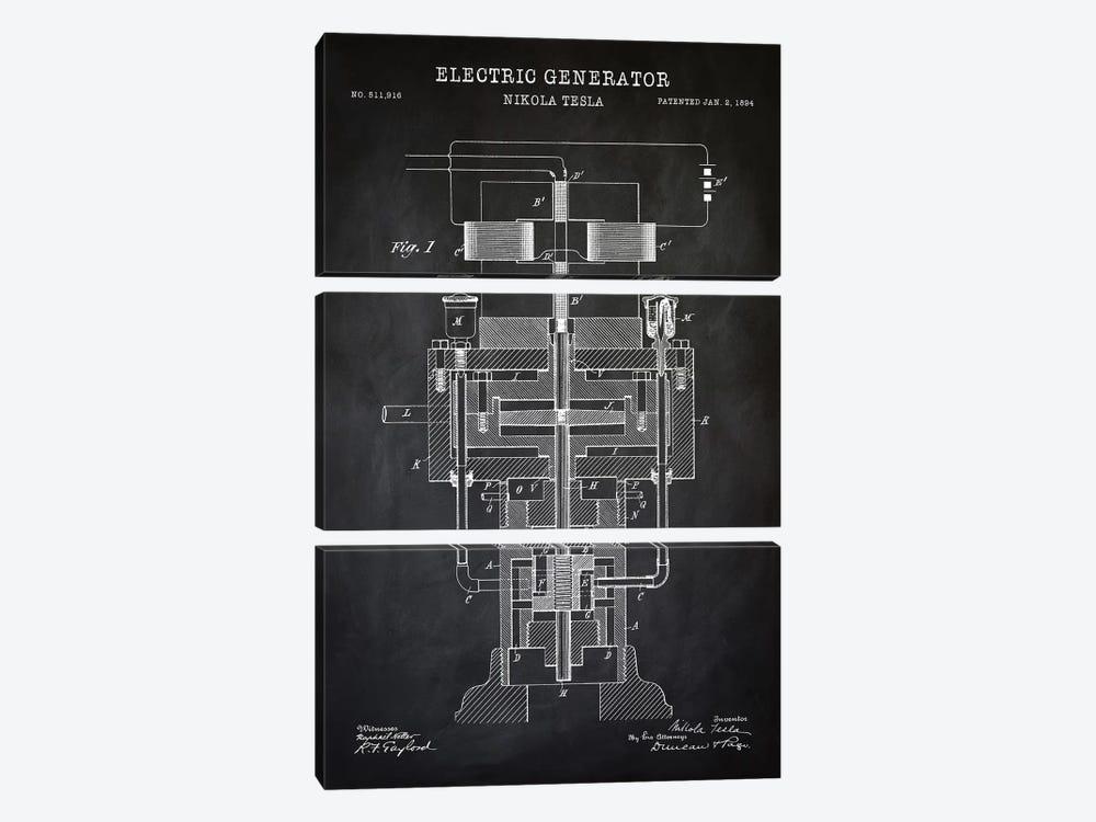 Tesla Electric Generator, Black by PatentPrintStore 3-piece Canvas Art Print