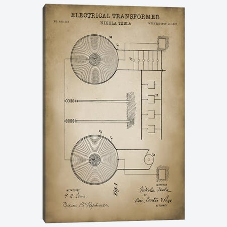 Tesla Electrical Transformer, Beige Canvas Print #PAT132} by PatentPrintStore Canvas Artwork
