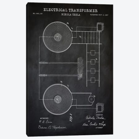 Tesla Electrical Transformer, Black Canvas Print #PAT133} by PatentPrintStore Canvas Art