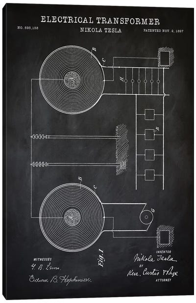 Tesla Electrical Transformer, Black Canvas Art Print