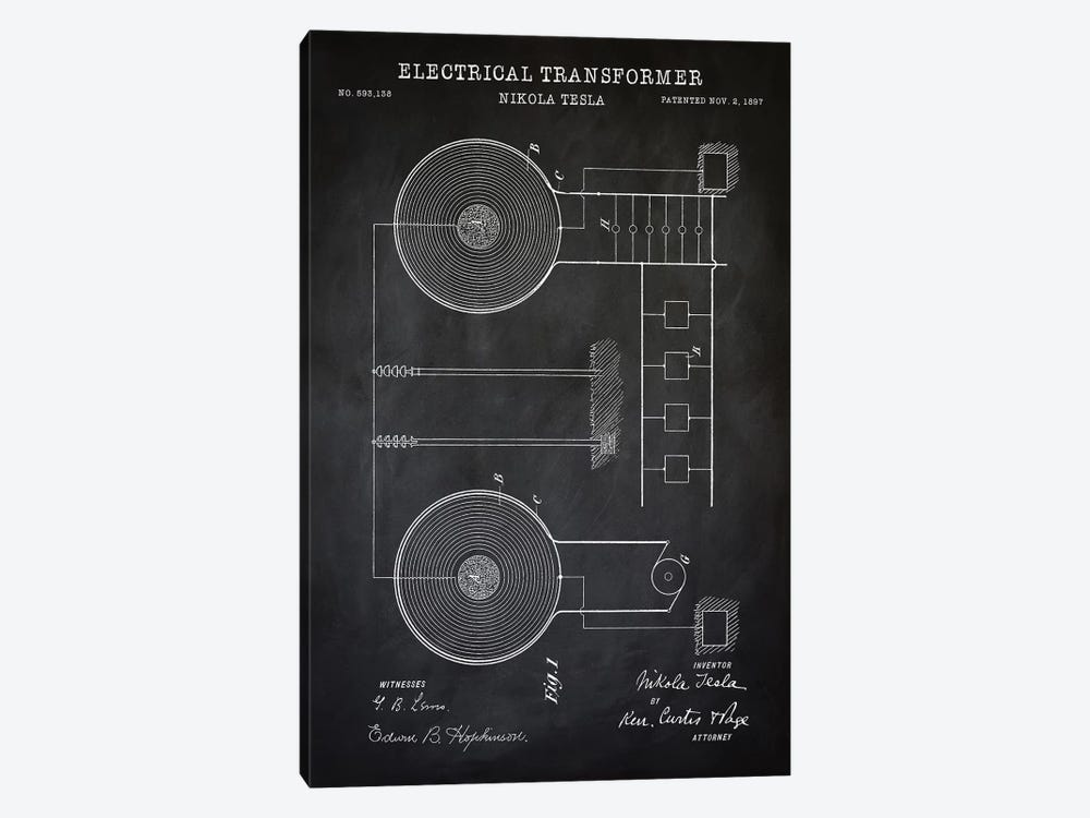 Tesla Electrical Transformer, Black by PatentPrintStore 1-piece Art Print