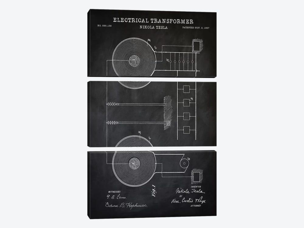 Tesla Electrical Transformer, Black by PatentPrintStore 3-piece Art Print
