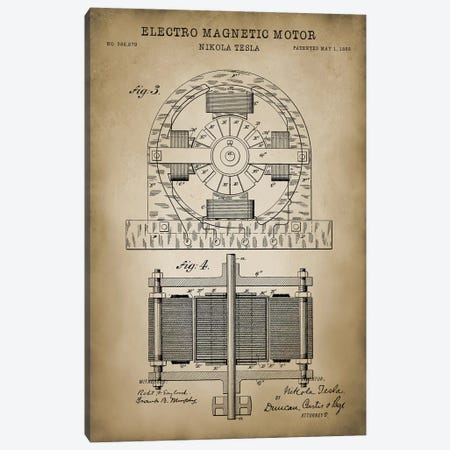 Tesla Electro Magnetic Motor, Beige Canvas Print #PAT134} by PatentPrintStore Canvas Print