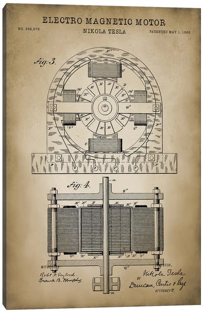 Tesla Electro Magnetic Motor, Beige Canvas Art Print