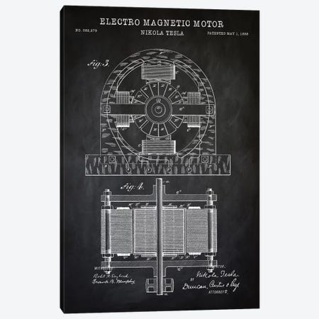 Tesla Electro Magnetic Motor, Black Canvas Print #PAT135} by PatentPrintStore Canvas Art Print