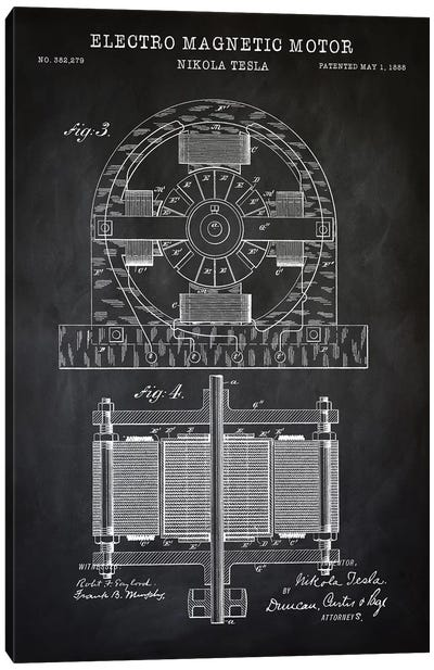 Tesla Electro Magnetic Motor, Black Canvas Art Print