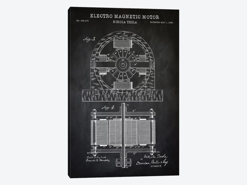 Tesla Electro Magnetic Motor, Black by PatentPrintStore 1-piece Canvas Art Print