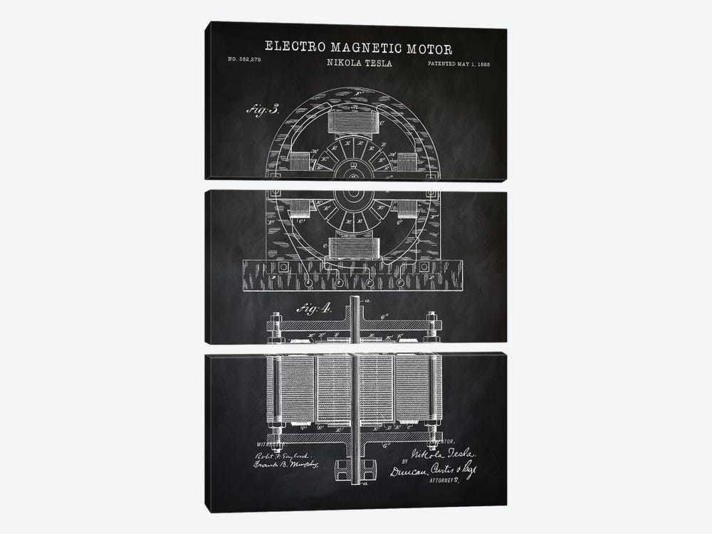 Tesla Electro Magnetic Motor, Black by PatentPrintStore 3-piece Canvas Art Print