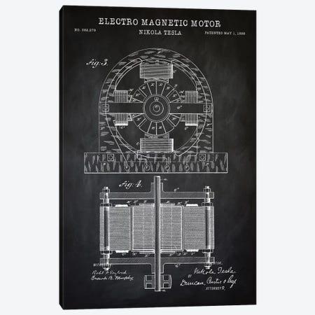 Tesla Electro Magnetic Motor, Black Canvas Print #PAT135} by PatentPrintStore Canvas Art Print