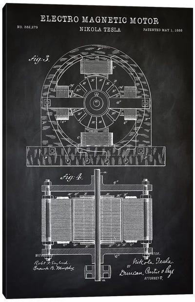 Tesla Electro Magnetic Motor, Black Canvas Art Print