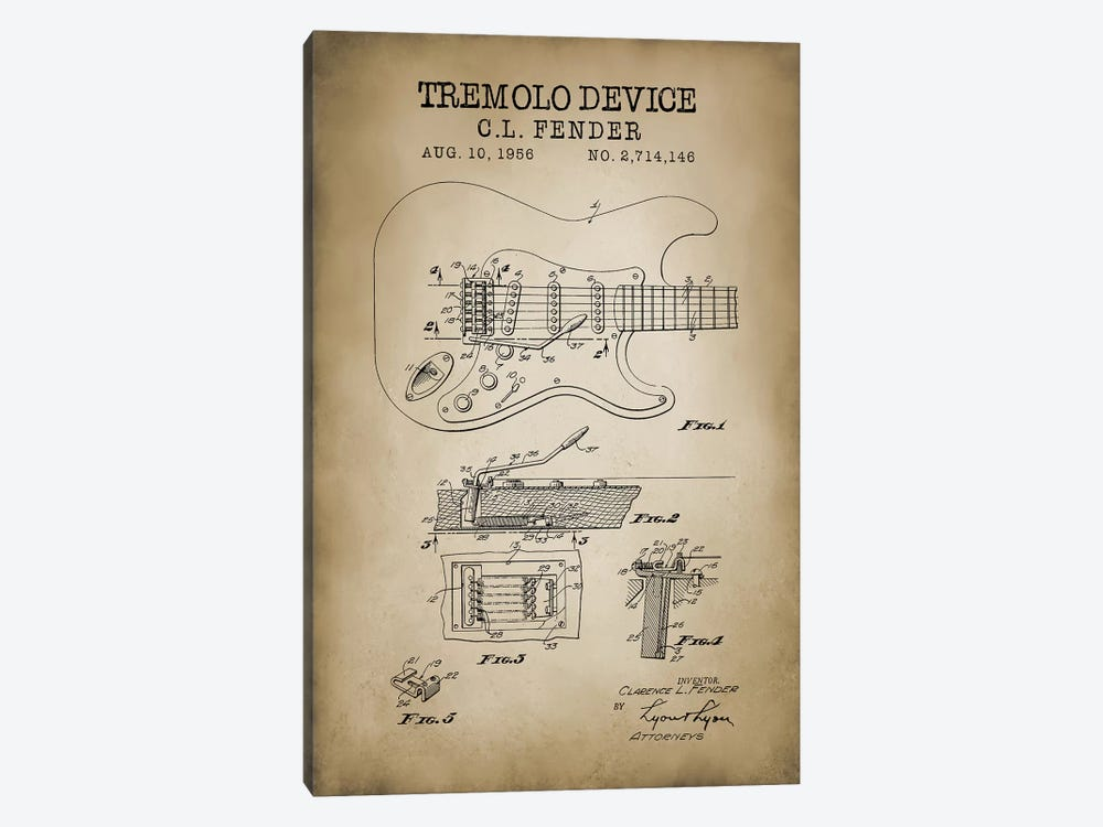 Tremolo Device by PatentPrintStore 1-piece Canvas Art