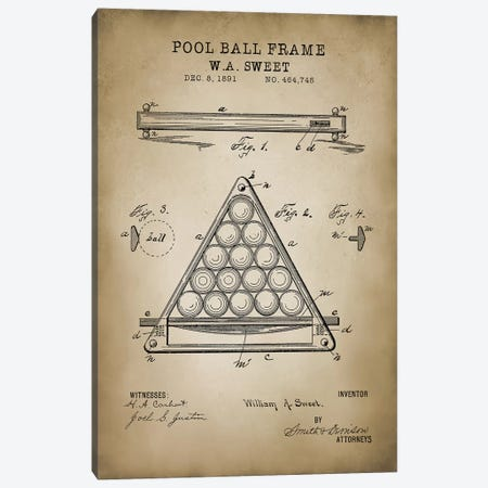 Billiard III Canvas Print #PAT13} by PatentPrintStore Canvas Print