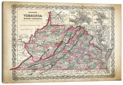 West Virginia Map Canvas Art Print