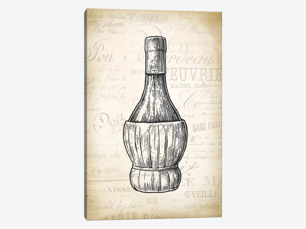 Wine Bottle by PatentPrintStore 1-piece Canvas Wall Art