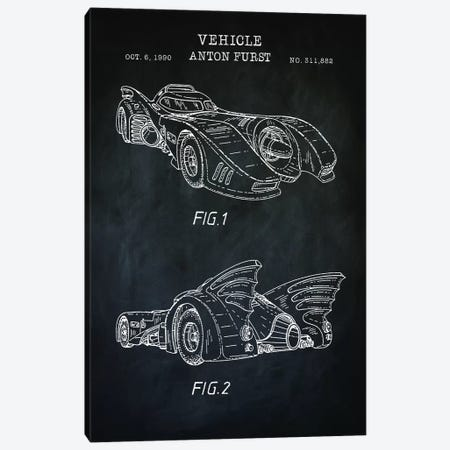 Batmobile, Black Canvas Print #PAT147} by PatentPrintStore Canvas Art