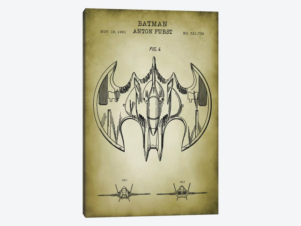 Batwing by PatentPrintStore 1-piece Canvas Print