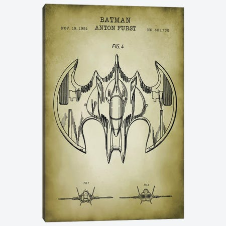 Batwing Canvas Print #PAT148} by PatentPrintStore Art Print