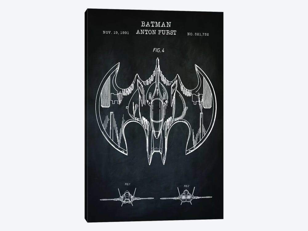 Batwing, Black by PatentPrintStore 1-piece Canvas Wall Art