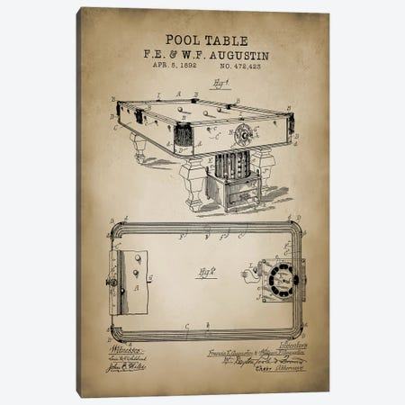 Billiard IV Canvas Print #PAT14} by PatentPrintStore Canvas Wall Art