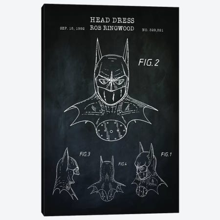 Batman Cowl, Black Canvas Print #PAT151} by PatentPrintStore Canvas Artwork