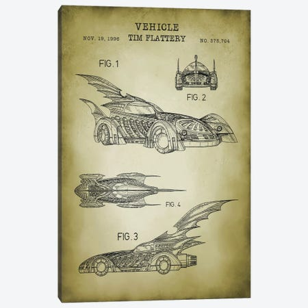 Batmobile II Canvas Print #PAT152} by PatentPrintStore Canvas Wall Art