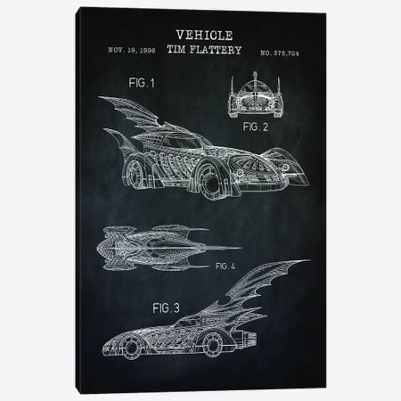Batmobile II, Black Canvas Print #PAT153} by PatentPrintStore Canvas Wall Art