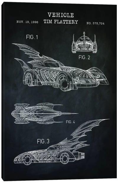 Batmobile II, Black Canvas Art Print