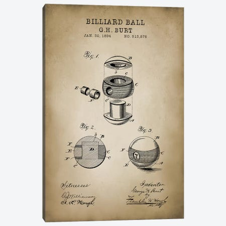 Billiard V Canvas Print #PAT15} by PatentPrintStore Canvas Art