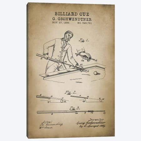 Billiard VI Canvas Print #PAT16} by PatentPrintStore Canvas Art