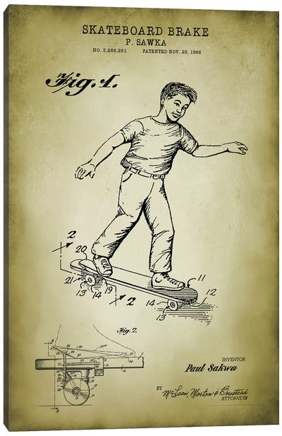 Skateboard Brake Canvas Art Print