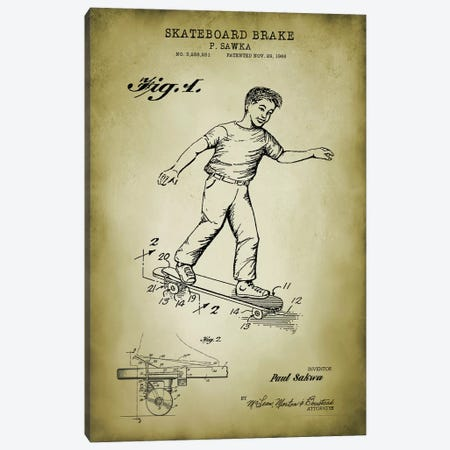 Skateboard Brake Canvas Print #PAT172} by PatentPrintStore Canvas Art