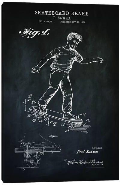 Skateboard Brake, Black Canvas Art Print
